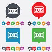 Vector German language sign icon. DE Deutschland.