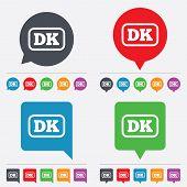 Vector Denmark language sign icon. DK translation.