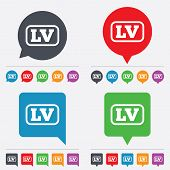 Vector Latvian language sign icon. LV translation