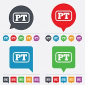 Vector Portuguese language sign icon. PT translation