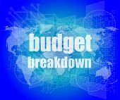 Business Concept: Words Budget Breakdown On Digital Screen, 3D