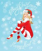 Blond Pin Up Christmas Girl Wearing Santa Claus Suit And Stockings On Blue Background With Snowflake