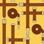 seamless pattern of belt, buckle and carabiner