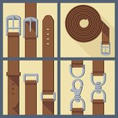 set  of belt, buckle and carabiner