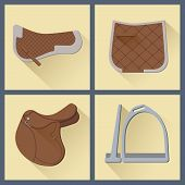 set  of horse gear in flat style 2