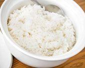 White Steamed Rice In White Ceramic Bowl