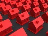 3d red houses