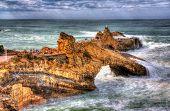 Rocks In Atlantic Ocean Near Biarritz, France
