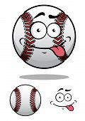 Cartoon baseball ball with a cheeky grin