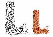 Leaf design uppercase letter L