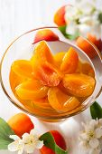 picture of apricot  - Fresh apricot compote in glass bowl - JPG