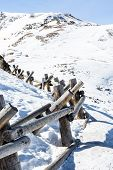 stock photo of split rail fence  - Typical weekend at Loveland pass on late Winter day - JPG