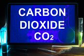 picture of carbon-dioxide  - Tablet with chemical formula of  carbon dioxide  - JPG