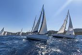 stock photo of sailing-ship  - Sailing yacht race - JPG