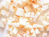 foto of dice  - Diced cheese with red hot chilli peppers - JPG