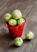 image of brussels sprouts  - Brussels sprouts in a bucket on an old wooden table - JPG