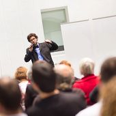 picture of entrepreneurship  - Speaker Giving a Talk at Business Meeting - JPG