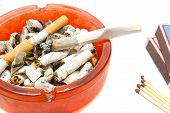 foto of butts  - matches butts and cigarette on white background - JPG