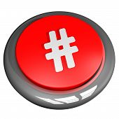 foto of hashtag  - Hashtag button isolated over white 3d render - JPG