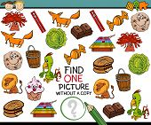 pic of brain-teaser  - Cartoon Illustration of Finding Single Picture without Copy Educational Game for Preschool Children - JPG