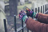 pic of graveyard  - A pair of gloved hands are holding a fence surrounding a graveyard - JPG