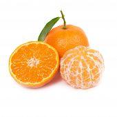 image of clementine-orange  - Orange mandarin with green leaf isolated on white background - JPG
