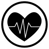 pic of cardio  - vector illustration round cardio icons in black on a white background - JPG