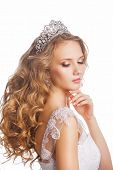 image of tiara  - Portrait of a beautiful bride in tiara with wedding hairstyle and makeup - JPG