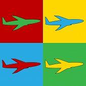 image of aeroplane symbol  - Pop art plane symbol icons - JPG