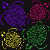 image of aquatic animals  - Seamless pattern with turtles - JPG
