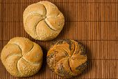 picture of bread rolls  - kaiser bread roll with seeds of sesame and poppy - JPG
