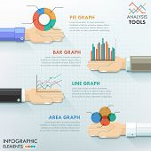 foto of step-up  - Business hands teamwork infographics template with hans holding charts - JPG