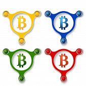 pic of bit coin  - four abstract vector objects and a colored bit coin symbol - JPG