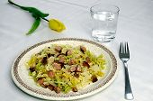 foto of water cabbage  - Colorful Italian pasta with smoked meat and cabbage glass of water - JPG