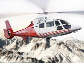 Rescue helicopter in flight over snow capped mountains with motion blur blades. Photo realistic 3d scene pic.