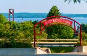 picture of underpass  - Entrance to Bayfront Park under the highway in Petoskey Michigan on Little Traverse Bay off Lake Michigan - JPG