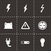 stock photo of electricity meter  - Vector black electricity icon set on black background - JPG