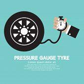 stock photo of air pressure gauge  - Pressure Gauge Tyre In Hand Vector Illustration - JPG