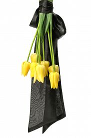 stock photo of funeral  - bouquet of yellow flowers for funeral isolated on a white background - JPG
