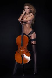 picture of cello  - Sexy beautiful naked woman posing with cello - JPG