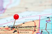 stock photo of usa map  - Photo of pinned Cleveland on a map of USA - JPG