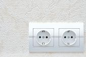stock photo of electric socket  - two white new electrical sockets  - JPG