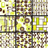 Collection of mod seamless patterns in green and brown