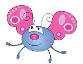 image of mimicry  - Cute smiling blue butterfly character isolated on white background - JPG