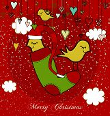 Christmas Card With Sweet Birds