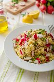 picture of radish  - Couscous with radishes and herbs topped herbs and olive oil simple but delicious vegetarian food - JPG