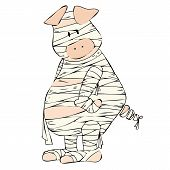 stock photo of embalming  - Illustration of a funny mummy Pig on white background - JPG