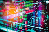 Stock Market Indicator And Financial Data View From Led. Double Exposure  Financial Graph And Stock poster