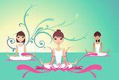 young ladies doing yoga