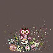 owl in a garden wallpaper